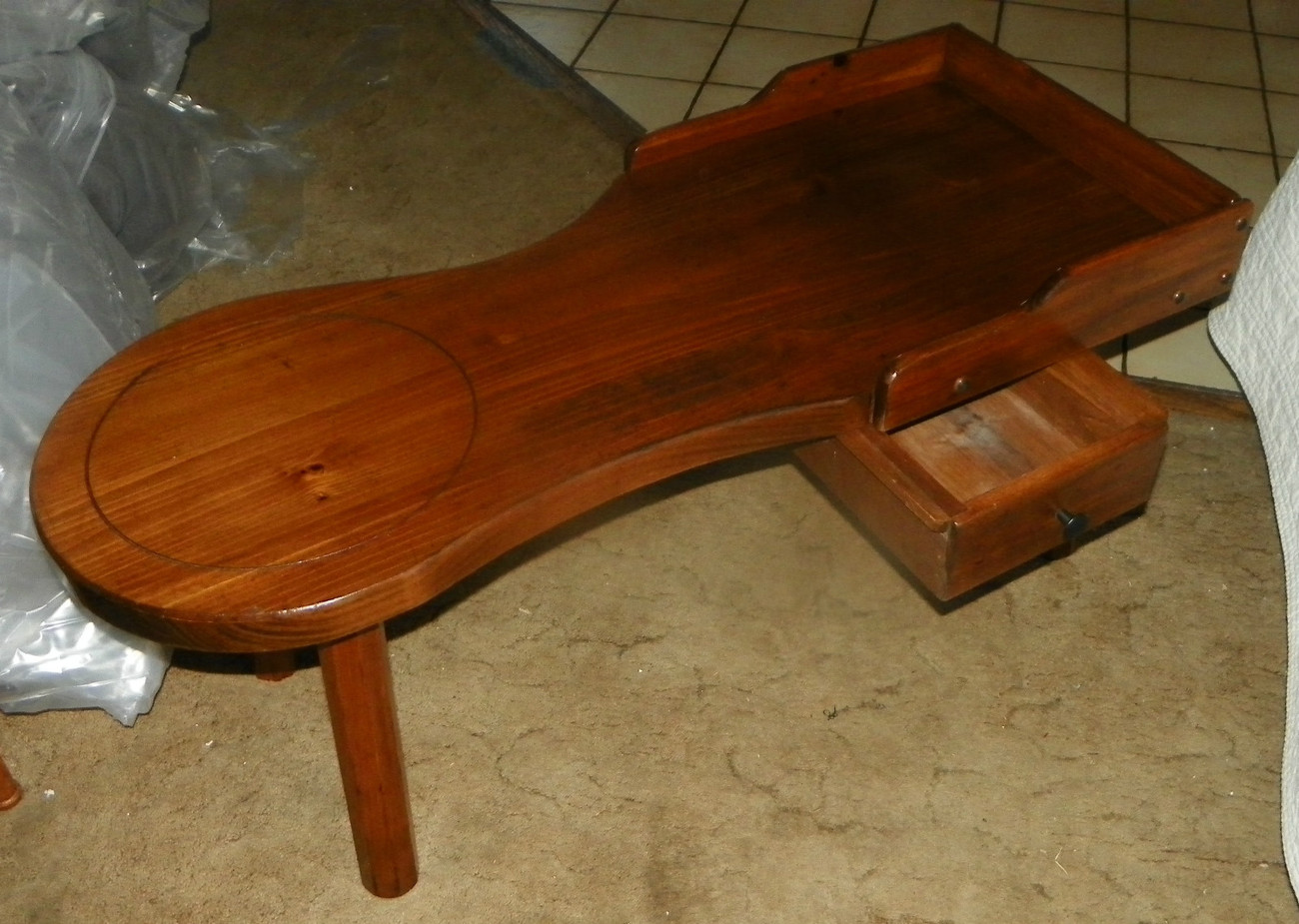 Pine Cobbler's Coffee Table with Push / Pull Drawer  (JLC-CT15)