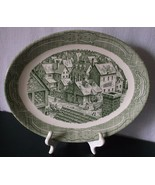 Royal China Large Platter The Ye Olde Curiosity Shop Currier & Ives Style Green  - $34.98