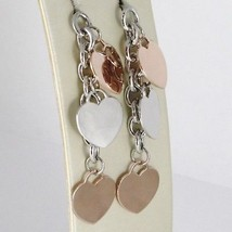 925 STERLING ROSE SILVER PENDANT EARRINGS ALTERNATE FLAT HEARTS 2.4 INCHES LONG image 2