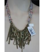 Macys Necklace Floral Chiffon Ribbon Bow Tie Dramatic Brass-Tone Infinit... - €14,78 EUR