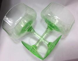 7 Tiffin Vaseline Glass Ribbed Optic Sherbet Champagne Glasses Coupe Shape - $58.41