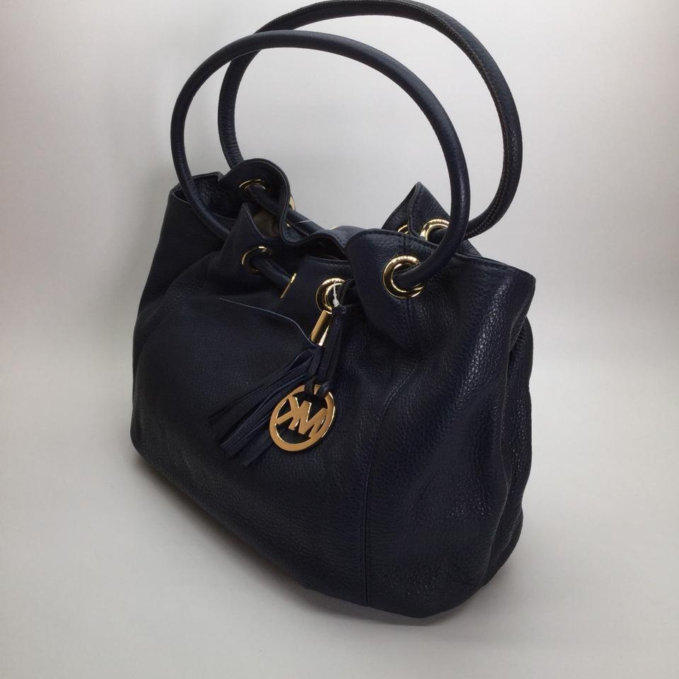a0facad6ce3a Michael Kors Leather Medium East West Ring Navy Leather Tote NWT