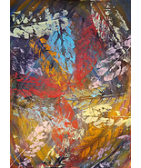 abstract original art painting avocado leaves fall plants autumn nature ... - $25.00