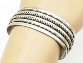 POST TRADING BELL 925 Silver - Vintage Rope Twist Decorated Cuff Bracele... - $117.34