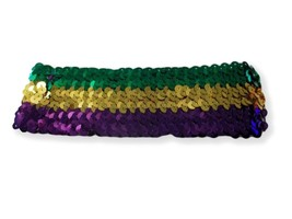 Sequin Mardi Gras Elastic Headband Purple Green Gold - €3,51 EUR