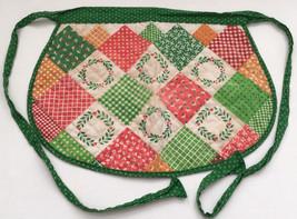 vintage quilt patchwork  look Chistmas colors reversible  half apron - $13.86