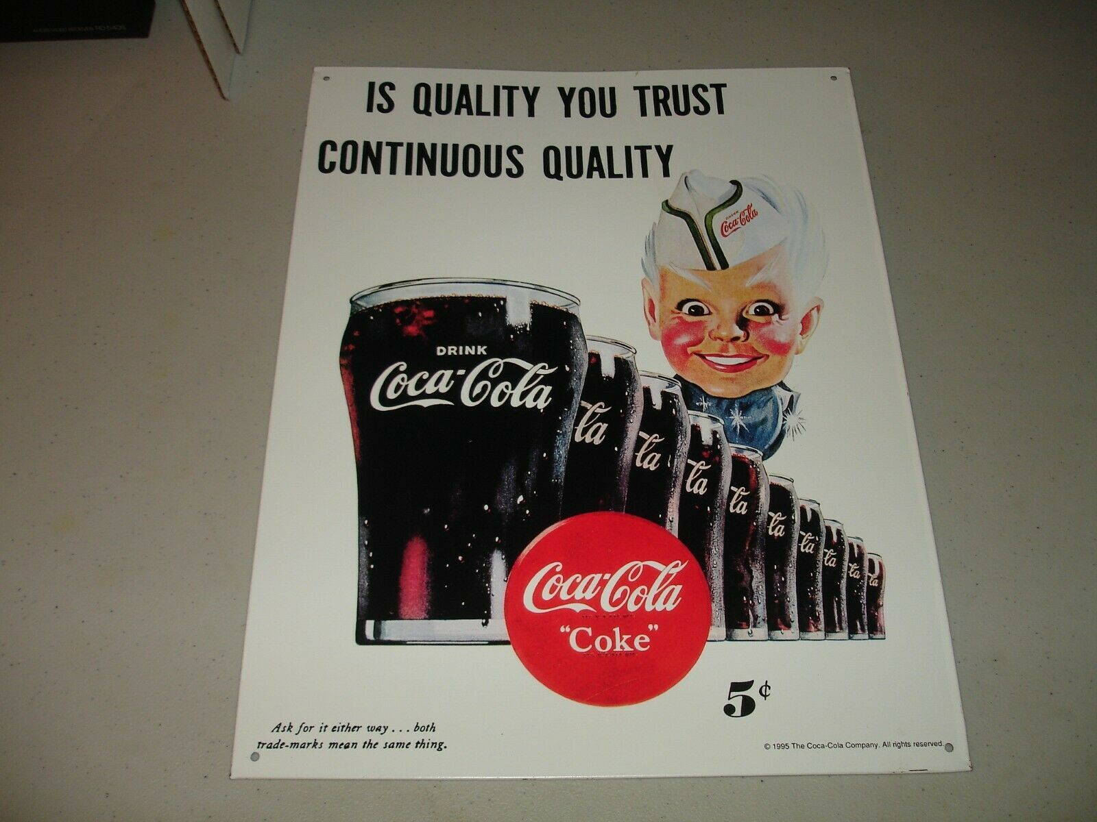 "Primary image for Coca-Cola Sprite Boy ""Is Quality You Trust Continuous Quality"" 1995 Tin Sign VG"