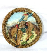 Popular Imports Cowboy Rodeo Horse Equestrian Vintage '97 Brown Plate Ho... - $19.79