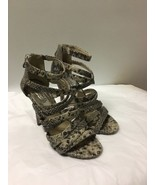 Michael Kors Strappy Pump Heel Womens Size 7.5 M Gray Snake Print Leather - $22.76