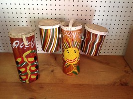 HAND MADE AND DECORATED WOOD BONGO DRUMS                                ... - $48.37