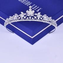 Cubic Zirconia Tiara Bridal Headband Clear Pearl Cut Zircon Flower Desig... - £33.78 GBP