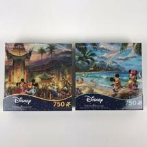 2x Ceaco Thomas Kinkade Disney Mickey Minnie Hollywood Hawaii Puzzle 750 pieces - $59.35