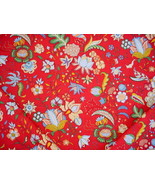 1Y DURALEE YVETTE RED / BLUE / FLORAL COTTON PRINT DRAPERY UPHOLSTERY FA... - $21.29