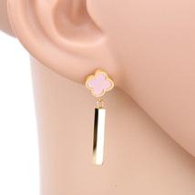 UE- Gold Tone Designer Earrings With Chic Faux Rose Quartz Clover & Dangling Bar - $16.99