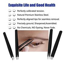 RoosterCo Eyebrow Tweezer Set with Travel Case,4-piece Daily Beauty Tools for Ha image 3