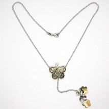 Collier Argent 925, Chaîne Rolo, Fleur, Marguerite Pendentifs, Bicolore image 2