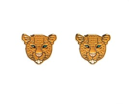 Leopard Face gold plated studs earrings enamel quirky retro kitsch gift idea - $15.59