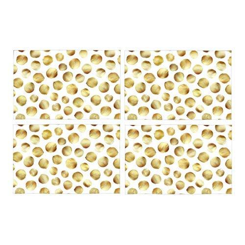 InterestPrint Elegant Funny Gold Polka Dots Washable Fabric Placemats Set of 4 H