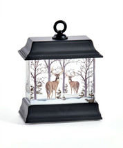 """4.5"""" Black led Water Lantern Woodland Scene with Glitter and Light Up Features image 1"""