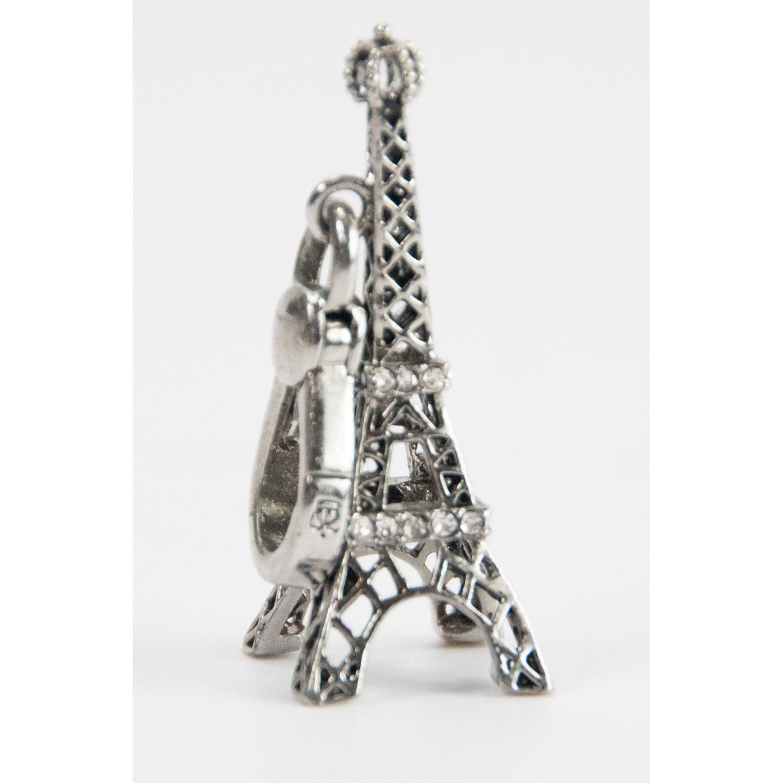 Juicy Couture Crystal Silver Tone Eiffel Tower FULL SIZE Bracelet Charm RARE