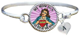My Mom is a Super Hero Comic Look Silver Cuff Bracelet Jewelry Choose Initial - $14.24