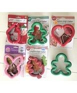 Wilton Comfort Grip Cookie Cutters Lot 7 Santa Elf Gingerbread Heart Bun... - €18,23 EUR