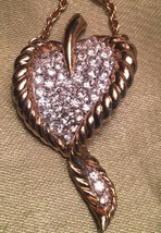 Vintage Atwood and Sawyer Necklace Rhinestone Heart Goldtone Heart - $39.59