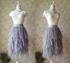 GRAY Irregular Knee Length Tulle Skirts Adult Gray Party Skirt Bridesmaid Skirts