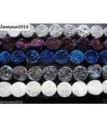 Druzy Quartz Agate Side Drilled Flat Back Connector Cabochon Round Beads... - $6.57+