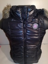 New Aeropostale Women's Black Jacket With A Faux Fur Hoodie Sleeveless - $14.95+