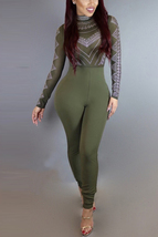 Women's Long Sleeves, Patchwork, Army Green, Qmilch, One-piece, Skinny J... - $29.00
