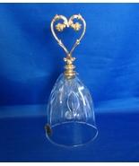 Vintage Italian Lead Crystal Bell Ottone Garantito 24 Carat Gold Handel - $36.00