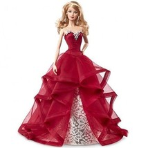Barbie Collector 2015 Holiday Caucasian Doll Red Dress Christmas Holida... - $35.83