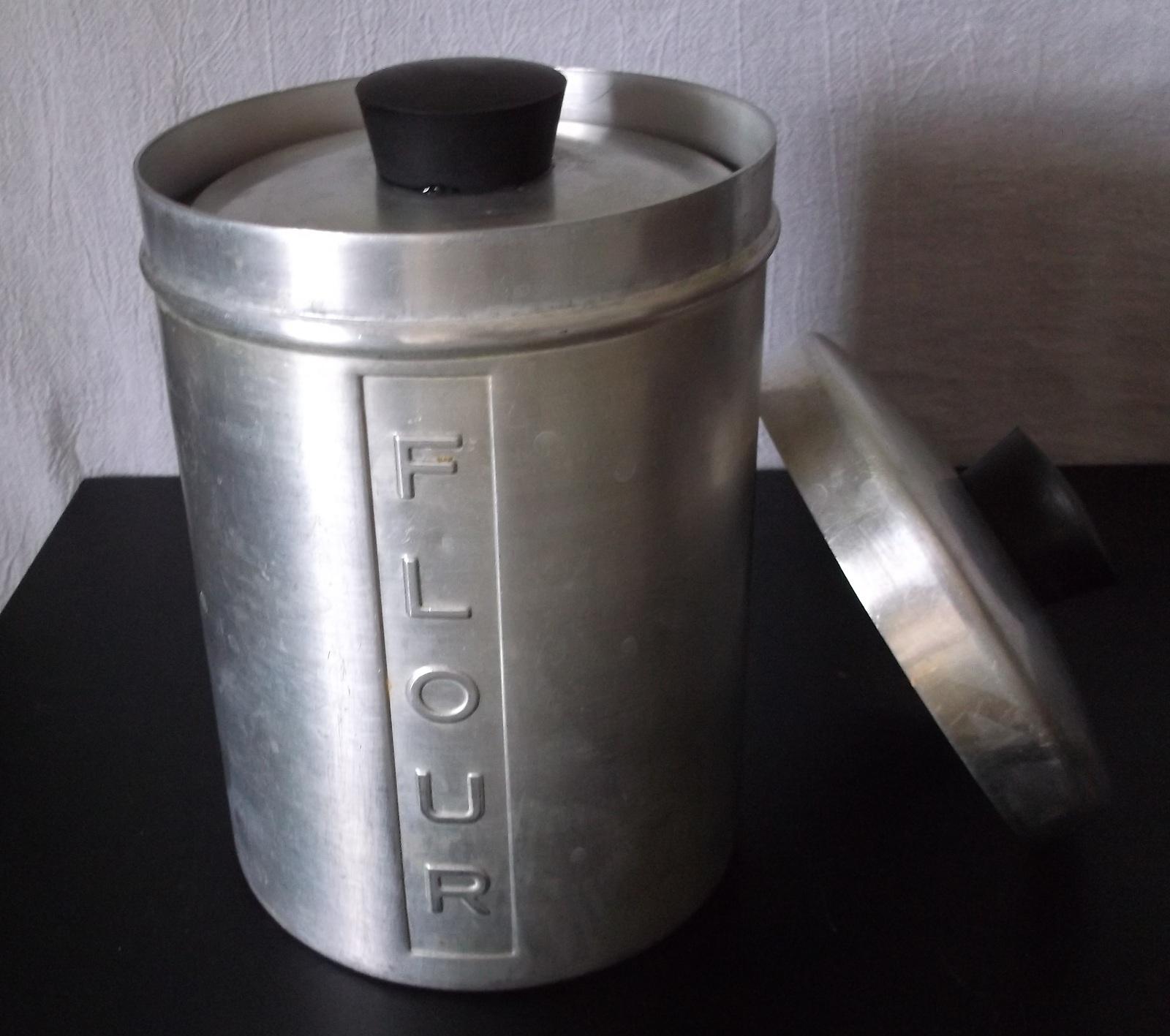 Vintage Metal Kitchen Canisters Aluminum Flour Sugar