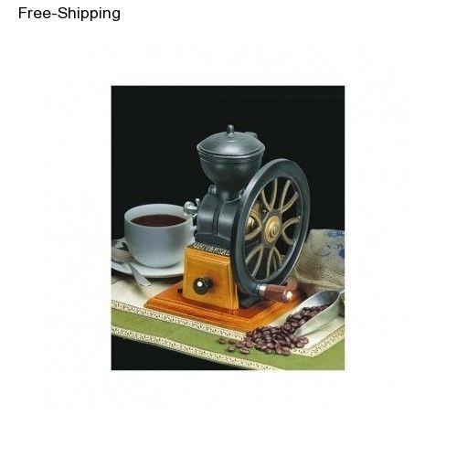 Hand Crank Coffee Grinder ~ Hand crank wheel manual coffee bean grinder antique