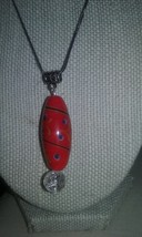 Handmade Large Oval Lampwork Blown Glass Red Pattern Crackle Glass Bead Pendant  - $5.99