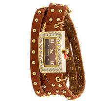 Designer Inspired Women's Rhinestone Chain Studded Wrap-around - CAMEL - $31.99
