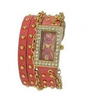 Designer Inspired Women's Rhinestone Chain Studded Wrap-around - CORAL - $31.99