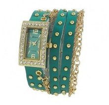 Designer Inspired Women's Rhinestone Chain Studded Wrap-around - TEAL - $31.99