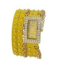 Designer Inspired Women's Rhinestone Chain Studded Wrap-around - Yellow - $31.99