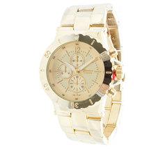 Geneva Platinum Designer Inspired Women's Faux Chronograph & Bezel Watch-GOL - $31.99