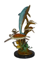 "Dolphin medium with Turtles Fountain Bronze Statue -  Size: 24""L x 34""W ... - $2,100.00"
