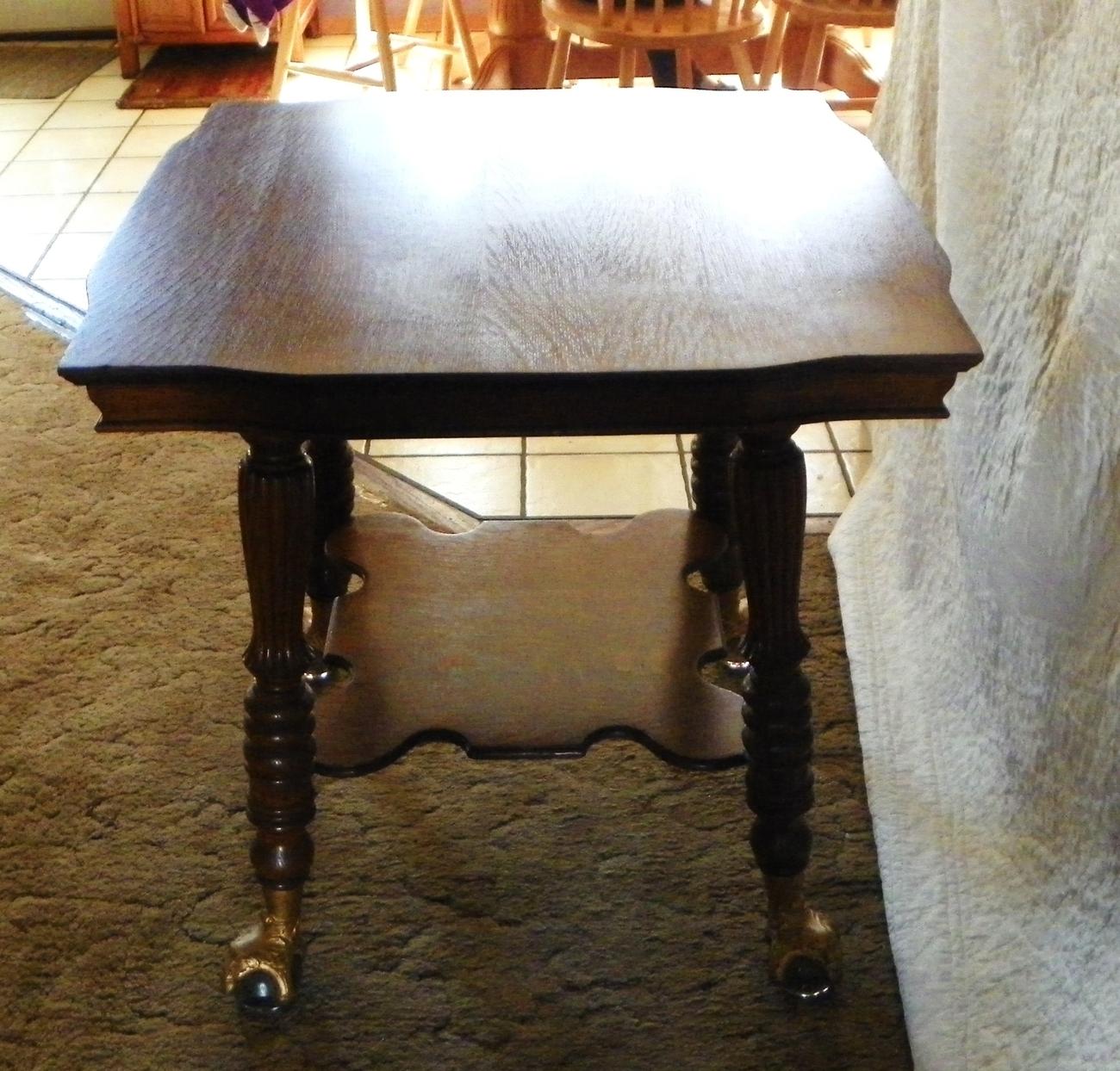 Quartersawn Oak Parlor Table with Glass Ball & Brass Feet   (T250)