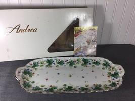 Vintage Andrea Vineyard Oblong Floral Porcelain Serving Tray w/ Original... - $55.74