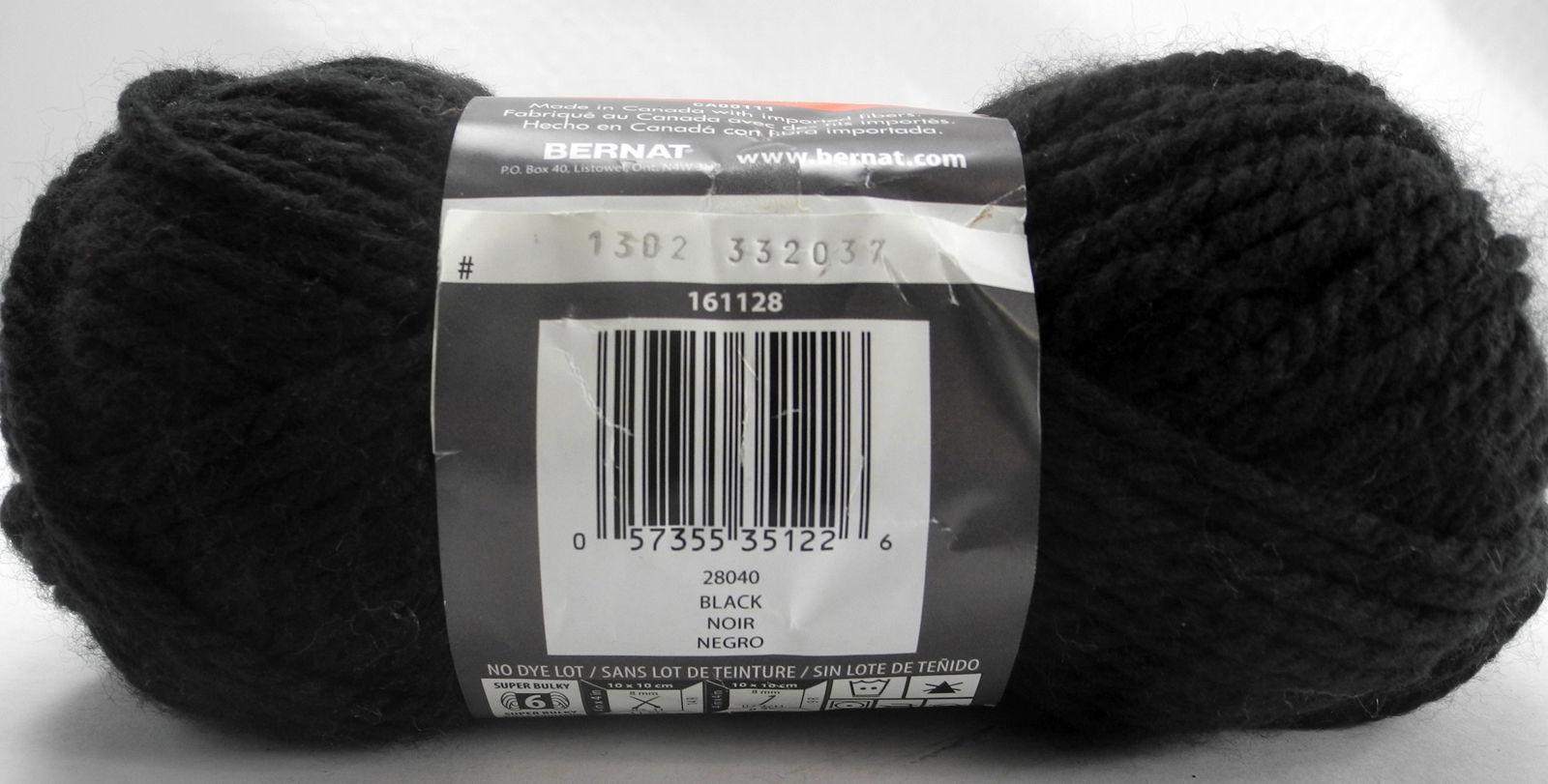 Bernat Softee Chunky Yarn 3 Skeins Black Noir