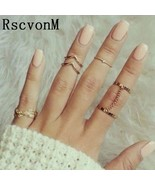 RscvonM 6 Pcs Punk style Midi ring sets Gold Color Knuckle Ring for wome... - $9.87