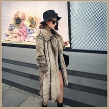 Sleek Long Full Pelt Platinum Imitation Mink Long Sleeve Thick Collar Fur Coat