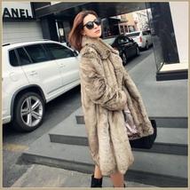 Sleek Long Full Pelt Platinum Imitation Mink Long Sleeve Thick Collar Fur Coat image 3