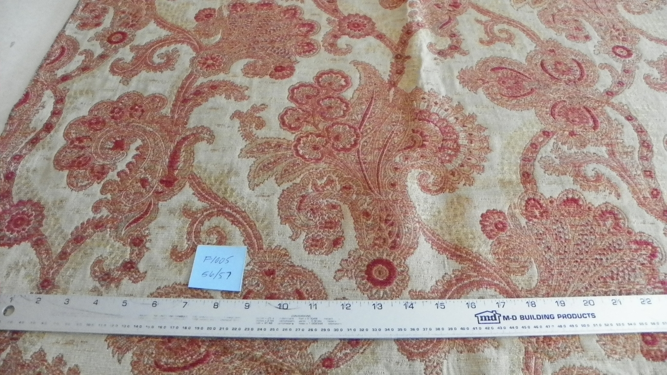 Red Gold Chenille Print Upholstery Fabric Remnant  F1005