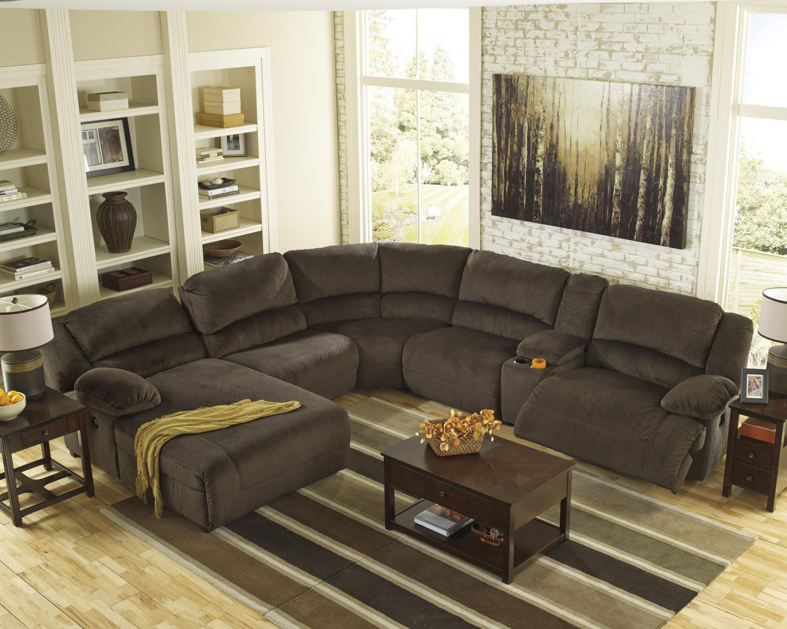 Ashley Toletta 6 Piece Living Room Sectional in Chocolate with Power Left Facing